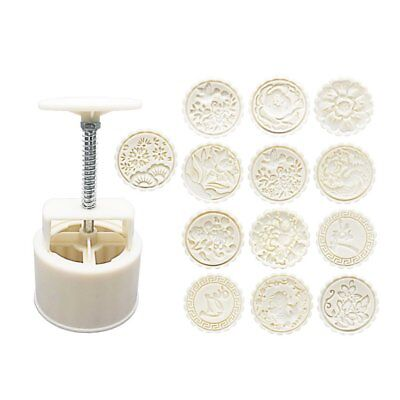 1 Mould And 13 Style Flower Stamps 150g Round Moon Cake Baking Mold Hand Pressur