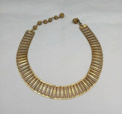 Vintage 1950's Miriam Haskell Signed Egyptian Revival Choker Necklace
