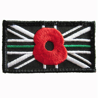 Thin Green Line VELCRO® Poppy Patch - Ambulance, Paramedic, First Responder NHS
