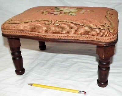 Small Needlepoint ? Walnut Victorian Four Leg Footstool Ottoman Stool