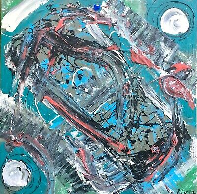 """Abstract Painting Teal Blue 20 X 20"""" LW Jeffrey Expressionist Lyrical Informel"""