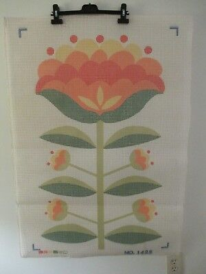 "New Large Latch Hook Rug Canvas / Wall Hanging Only Floral Design 24"" X 37"""