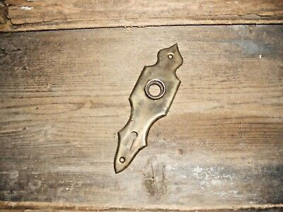 Vtg Old Antique Rustic Brass Steampunk Art Deco  Rustic Door Knob Backplate