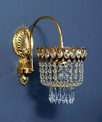 Bow Crystal Wall Lamp with Echt-Kristall in Goldfarben.pass. Chandelier Verf
