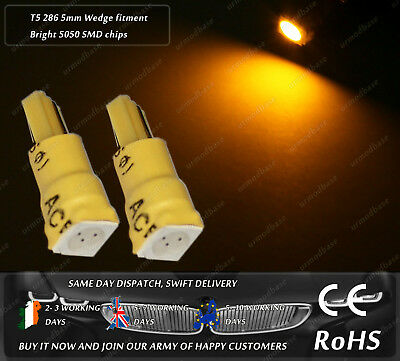 LED SMD T5 286 Wedge Amber Yellow Dash Speedometer Lights Instrument Bulbs 12V