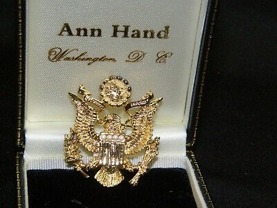 "Ann Hand 2004 Special Edition ""Great Seal"" Sterling Silver Imitation Pearl Pin"