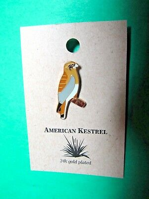 NATURES CHARMS AMERICAN KESTREL 24k GOLD PLATED LAPEL HAT PIN (16)