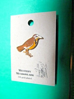 NATURES CHARMS WESTERN MEADOWLARK 24k GOLD PLATED LAPEL HAT PIN (29)
