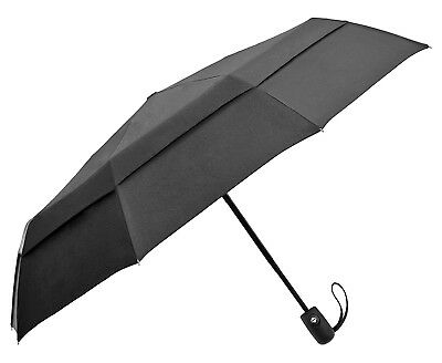 Compact Travel Umbrella w/Windproof Double Canopy Construction - Auto Open/Close
