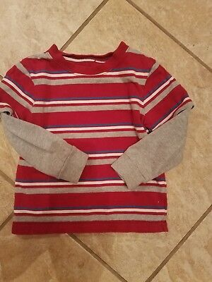 Peanut & Ollie Boys Red/Blue/white Striped shirt, grey sleeves size 4T.