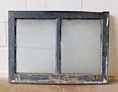 1910's Craftsman Style Two Pane WINDOW Frame & Glass ORIGINAL Textured GLASS