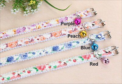 Floral Cat Collar with Bell - SOFT - Small dog, pet - You pick color! - US Sell