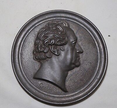antique Goethe poet thick cast iron figural wall relief portrait plaque art