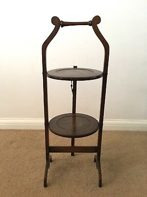 Beautiful Rare Antique Victorian Mahogany Two Tier Cake Stand Christmas Table