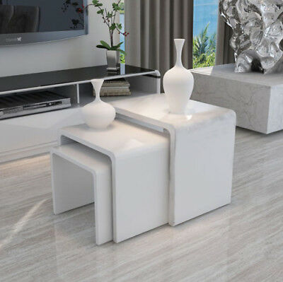 3 Pcs High Gloss Coffee Tables Side End Table Set Living Room Furniture White