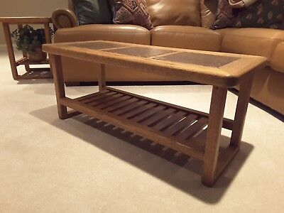 Custom made solid red oak coffee table with ceramic tile inserts in top