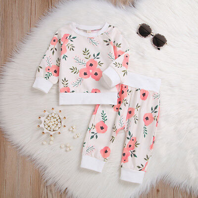 US Stock Newborn Kids Baby Girl Floral T-shirt Top+Pants Leggings Outfit Clothes