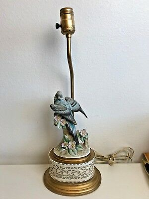 Vintage Ceramic Blue Parakeet Bird Table Lamp Cottage Decor Boudoir