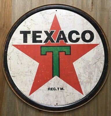 New Texaco '36 Round Tin Metal Sign Vintage NEW Garage or Man Cave!!