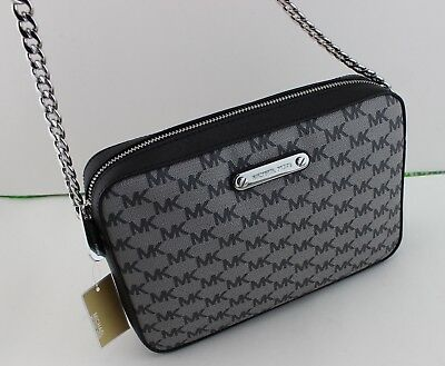 4a4a4114cc12 New Authentic Michael Kors Jet Set Item Black Handbag Lg Large Ew Crossbody