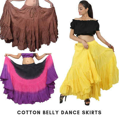 Multi Color Belly Dancing Skirt 12-16-25-32 Yard 4 Tiered GYPSY Skirt Tribal
