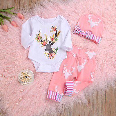 US 3Pcs Christmas Newborn Infant Baby Girl Deer Romper Pants Hat Xmas Outfit Set