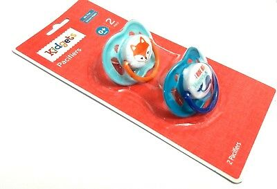 New Set Of 2 Kidgets Fox Whale Silicone Pacifier Binky 0+ Months Bpa Free