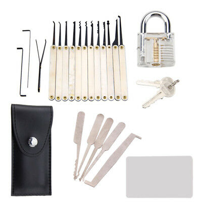 12pcs+5pc Transparent Practice Padlock Unlocking Lock Pick Set Key Extracor Tool