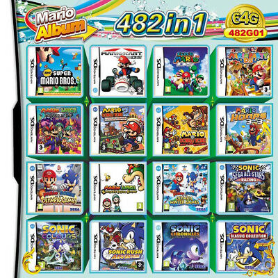 For Nintendo Cartridge Console 2DS 3DS NDSI NDS NDSL 482 In 1 Video Games Card