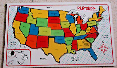 Vintage Playskool Wood Inlaid Puzzle Map of the USA