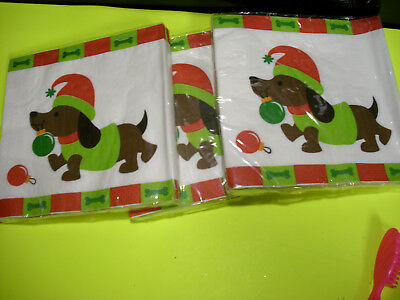 48 LOT ( 3 pks dachshund dog wiener hound napkins nip unused