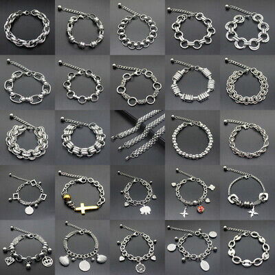 Silver Stainless Steel Men Link Chain Wristband Cuff Bracelet Bangle Jewelry