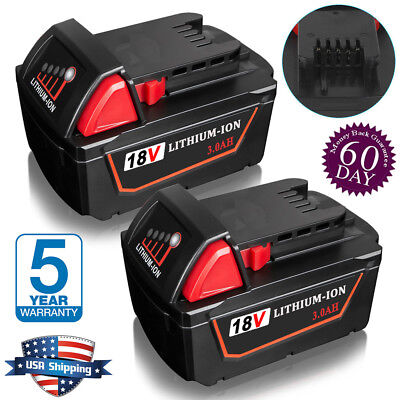 2X Battery For Milwaukee M18 18V REPLACE 48-11-1828 48-11-1840 Lithium-ion 3.0AH