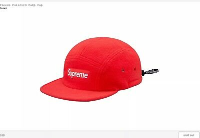 4bb5ee17bf6 Supreme Box Logo FW18 Fleece Pull-cord Camp Cap Coral NWT In Hand 100%