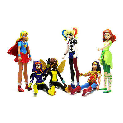 6pcs DC Comics Super Hero Girls Harley Quinn SuperGirl Action Figure Doll Toy