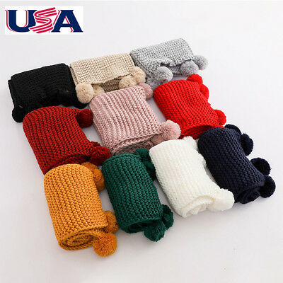 US Autumn Winter Neck Warmer Scarf Kids Boy Girls Xmas Scarves Soft Solid Wrap