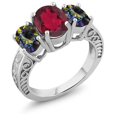 3.40 Ct Oval Red Mystic Quartz Blue Mystic Topaz 925 Sterling Silver Ring