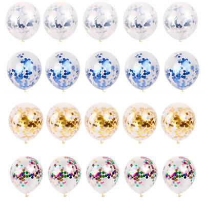 UK Clear Confetti Filled Latex Round Balloons Birthday Party Wedding Decorations