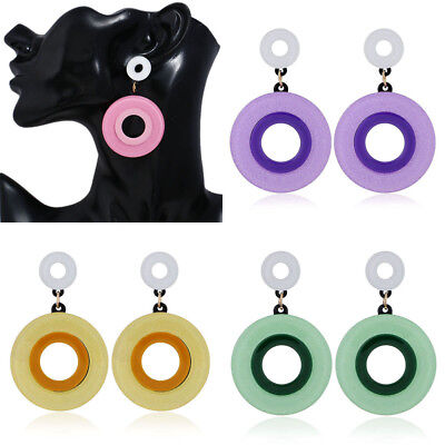 Fashion Acrylic Geometry Circle Drop Dangle Earrings Women Ear Stud Hoop Jewelry