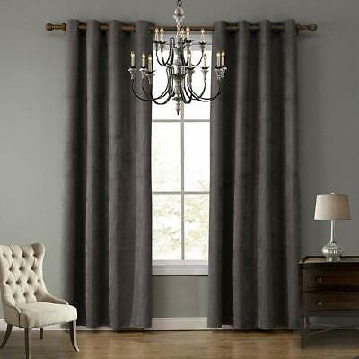 Luxury Thermal Blackout 40-70% Curtains Made Eyelet Ring Top Suede Gray 2 Panels