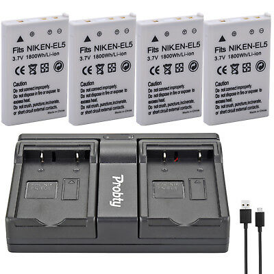 EN-EL5 Battery + charger for Nikon CoolPix 3700 4200 5900 7900 P3 P4 P100 P500