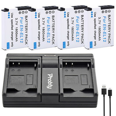 EN-EL12 Battery + charger for Nikon Coolpix AW100 AW100s AW110 AW110s AW120 P330