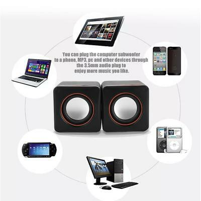 Mini HiFi Computer Speakers Heavy Bass Subwoofer USB 3.5mm For Desktop PC Laptop