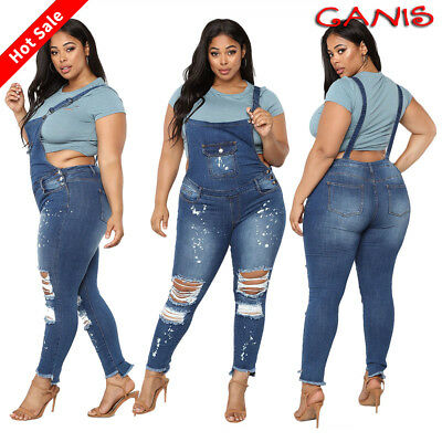 Plus Size Womens Skinny Ripped Denim Bib Jeans Trouser Romper