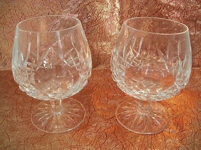 "Waterford Crystal Lismore Brandy Glass Snifters BEAUTIFUL Pair  5 1/8"" IRELAND"