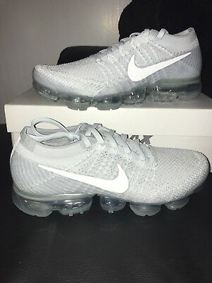 Nike Air Vapormax Flyknit Pure Platinum White Wolf Grey 849558 004-men's Size8.5