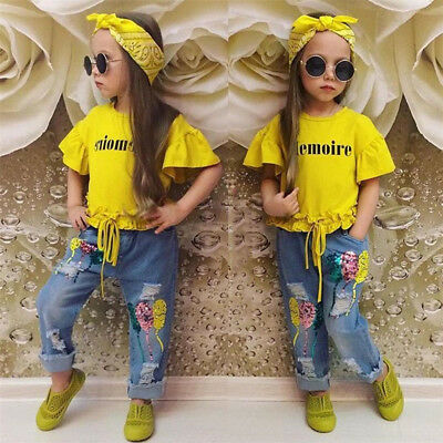 Fashion Toddler Kid Girl Clothes Baby Cotton Top T-Shirt+Denim Pants Outfits Set