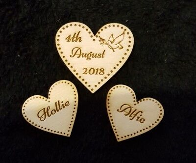 Personalised Wooden Hearts set for Wedding Guestbook  Heart engraved