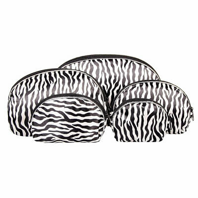 Blue Banana 5pc Zebra Make Up Cosmetic Bag Set/Travel Case/Toiletry Wash Bag