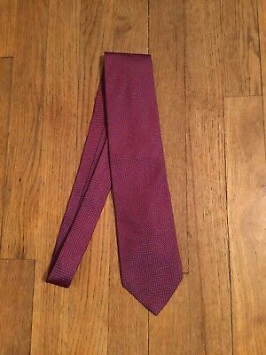Vintage Men's BOSS Hugo Boss 100% Silk Necktie Red Blue Dot Pattern Tie Neckwear